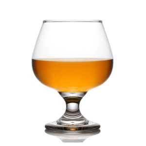 Filled Embassy snifter glass by Libbey.