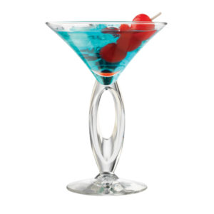Filled Omega martini glass by Libbey.