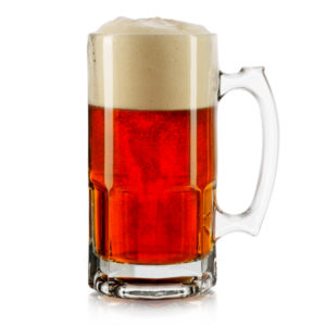 Filled super beer mug by Libbey.