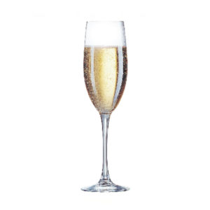 The Vina champagne flute filled with sparkling wine.