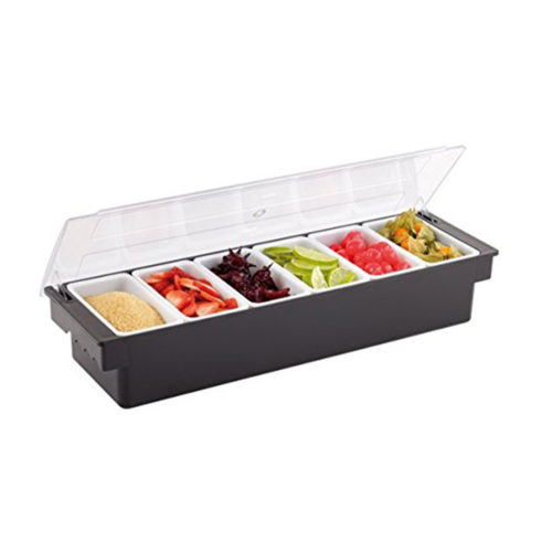 A deluxe 6-compartment condiment caddy in use.