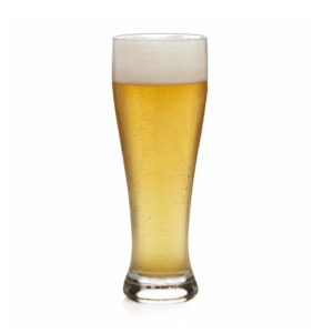Filled Bavarian weizen beer glass.