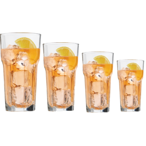 4 filled Gibraltar tumblers by Libbey.