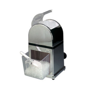 Manual ice crusher filled with ice.