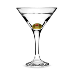 Filled Embasssy martini glass by Libbey.
