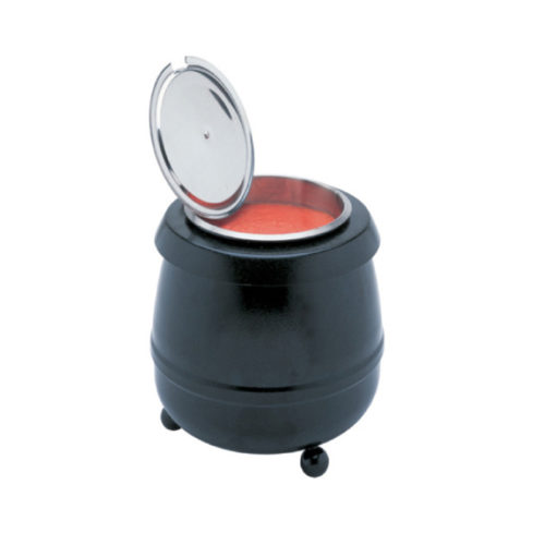 A soup kettle by avenia in black.