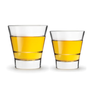 2 filled Endeavor whiskey glasses by Libbey.