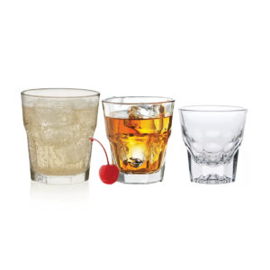 3 filled Gibraltar whiskey glasses.
