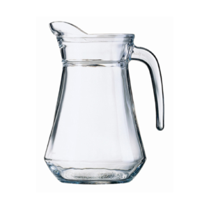 A clear glass water jug.