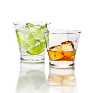 2 filled York whiskey tumblers by Libbey.