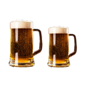 2 filled crisal beer mugs by Libbey.
