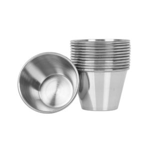 Stack of stainless steel sauce cups.