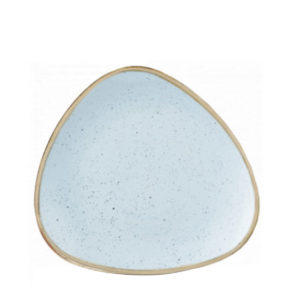Stonecast triangle side plate in duck egg blue.