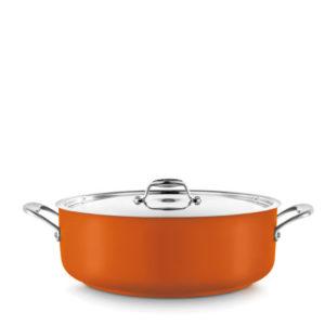 A low casserole pot in orange.