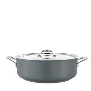 A low casserole pot in grey.