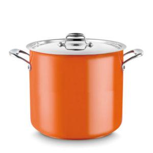 A stock pot in orange.