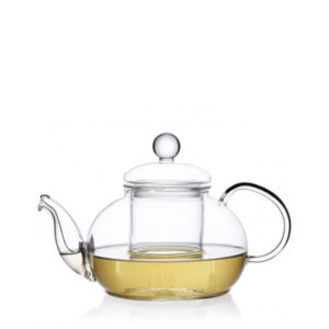 A glass teapot with glass infuser.