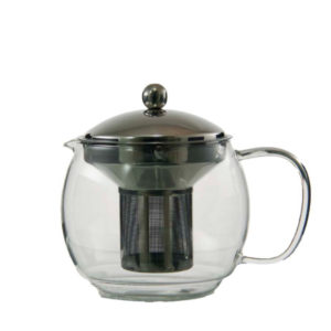 A round glass teapot with stainless steel infuser.
