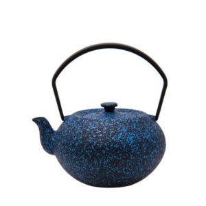 A blue mottled Chinese cast iron teapot.