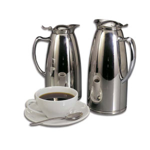 2 polished stainless steel insulated servers.
