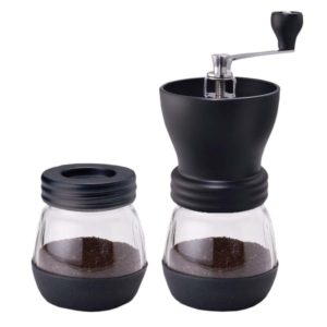 A coffee grinder with 2 glass containers.