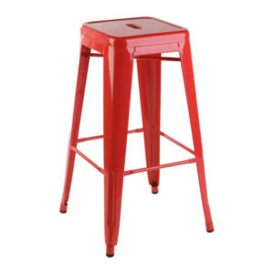 A Tolix high glass bar stool in red.