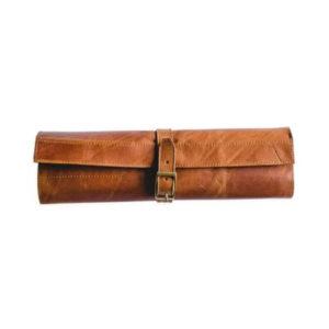 Rugged leather knife bag.