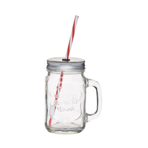 The harvest time drinking jar with lid and straw.