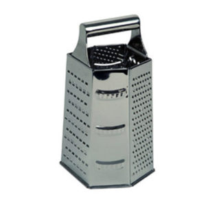 A steel 6 sided grater.