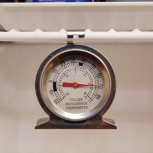 A fridge and freezer thermometer in use.