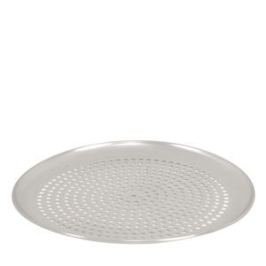 A perforated aluminium pizza pan.