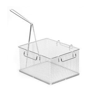 A square stainless steel chip basket.