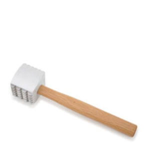 A meat mallet with a wooden handle.