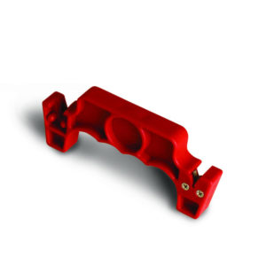 Side view of a red knife sharpener.