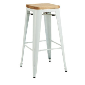 A white tolix bar stool with a wooden seat.