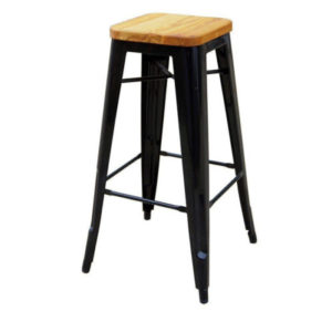 A black tolix bar stool with a wooden seat.