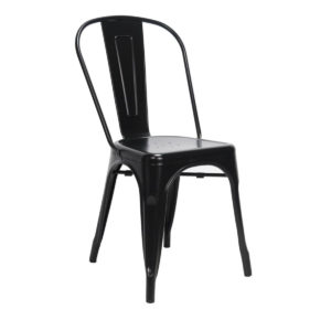 A black tolix dining chair.