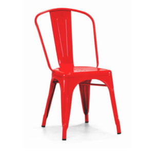 A red tolix dining chair.