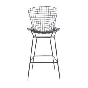 A black mesh bar stool.