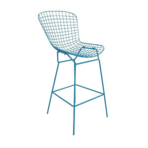 A blue mesh bar stool.