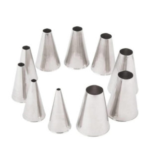 A 10 piece stainless steel nozzle set.