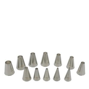 a 12 piece stainless steel nozzle set.
