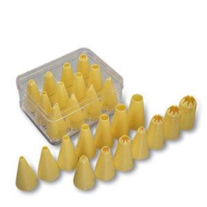 A set of plastic nozzles.
