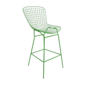 A green mesh bar stool.