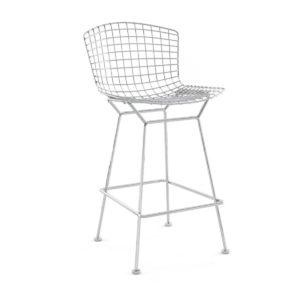 A grey mesh bar stool.
