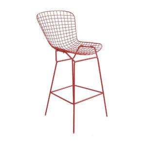A red mesh bar stool.