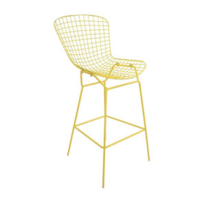 A gold mesh wire bar stool.