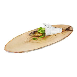 An oval wood effect tray by APS.