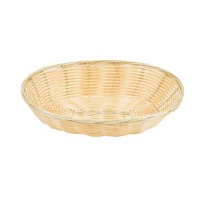 An oval woven bread basket.