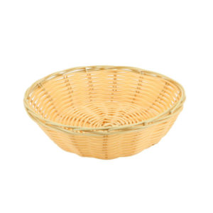 A round woven bread basket.